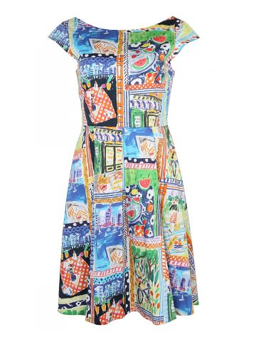Kate Spade Illustrated New York 50s Style Dress - S