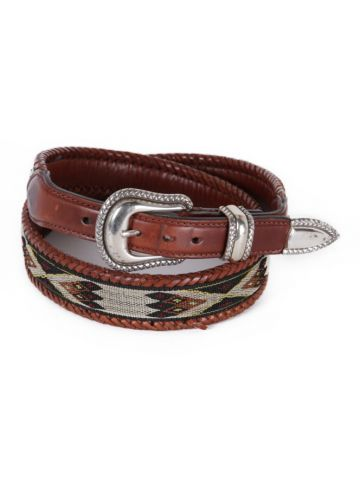Woven Brown Leather & Navajo Tapestry Western Belt