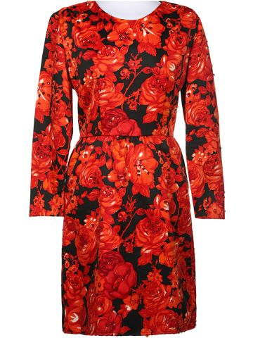 60s Red & Black Floral Long Sleeved Dress - S