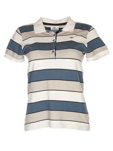 Lacoste White Striped Fitted Polo Shirt - S
