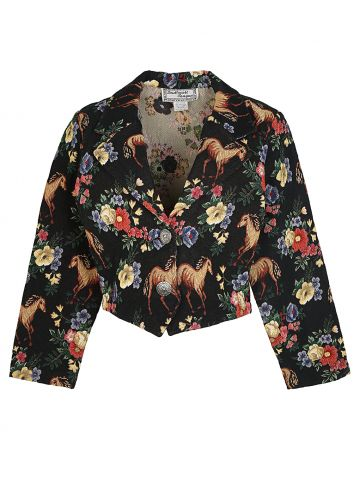 Black Tapestry  South Western Wear Jacket with Floral Horse Print - M