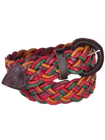 Multicoloured Woven Leather Belt - W24 - 30