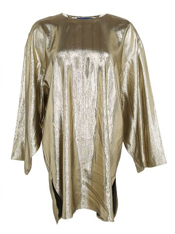 80s Linda Lundstrom Gold Lame Tunic Top - M