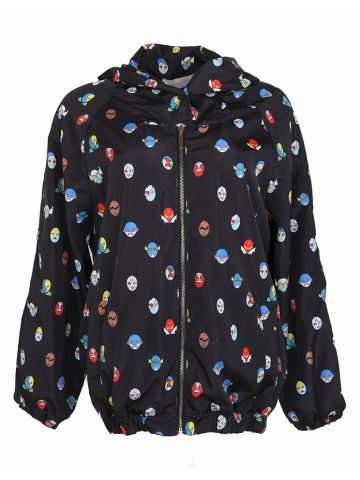 Stella McCartney Black SuperStellaheroes Printed Rain Jacket - S