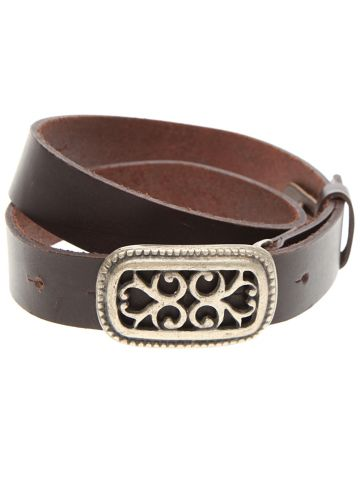 Brown Leather Belt w/ Decorative Silver Buckle