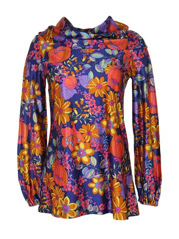 70s Psychedelic Floral Print Roll Neck Top - M