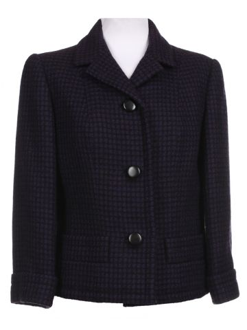 60s Purple & Black Checked Tweed Jacket - M