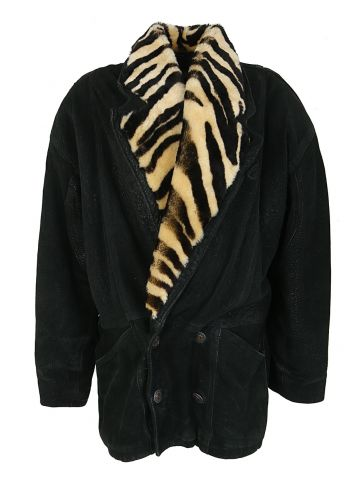 80s Black Suede Jacket - S