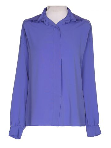 80s Purple Long Sleeved Blouse - L